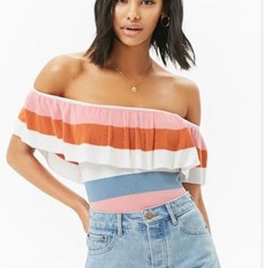 Forever21 Off Shoulder Striped Top